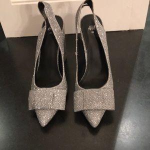 H&M glittery sling backs w/ bow detail. NWOT